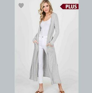 Plus Size Long Sleeve Side Pocket Dusters Gray